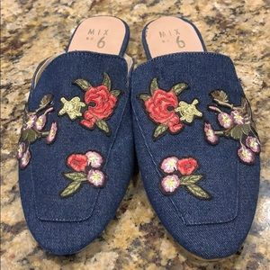 Beautiful embroidered denim mules
